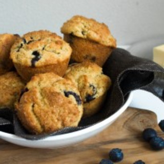 Whole Grain Gluten-Free Blueberry Mascarpone Muffins