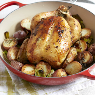 Whole Roasted Chicken with Potatoes and Leeks