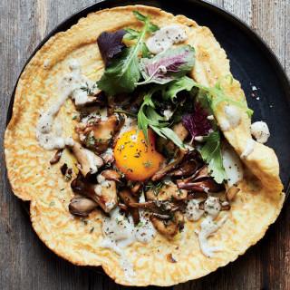 Wild Mushroom Crêpes with Sunny Eggs