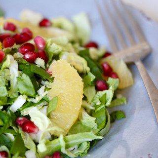 Winter Salad: Brussels, Orange and Pomegranate with Turmeric Dressing