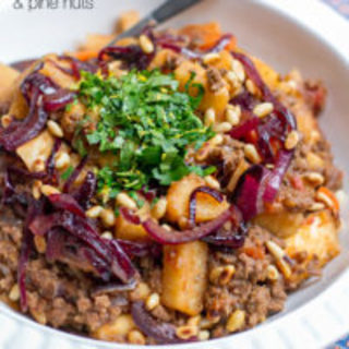 Yam and Beef Stew with Caramelised Onions and Pine Nuts