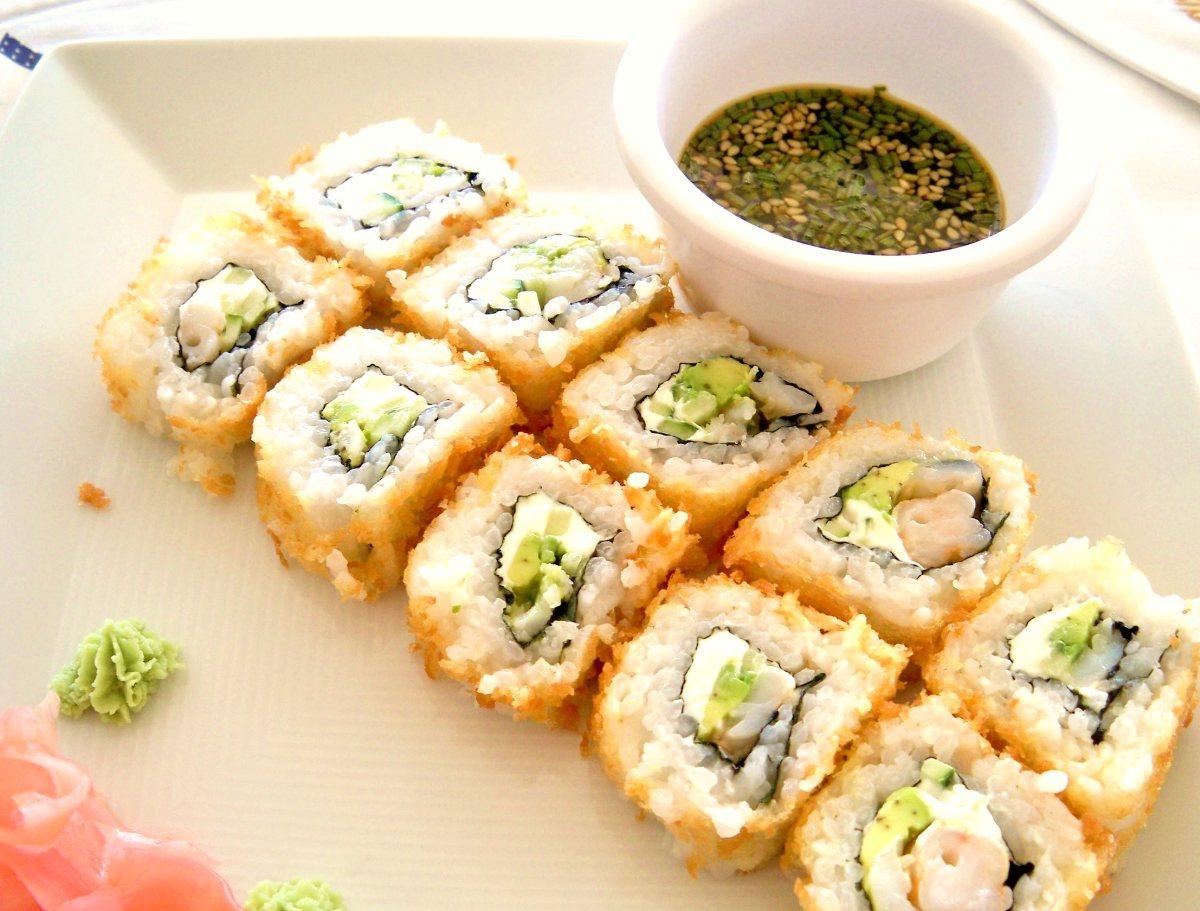 Herb Crab Salad Maki-Sushi with Tempura Shrimp Hand Rolls