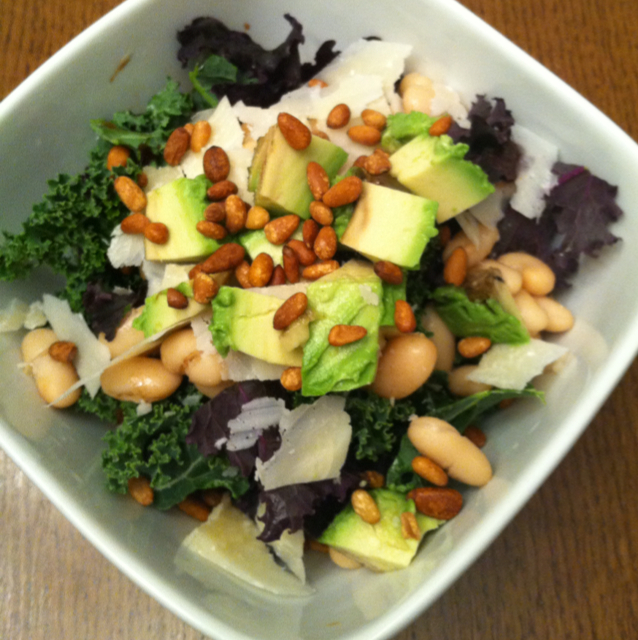Kale salad with Parmesan, avocado, cannellini beans and pine nuts ...