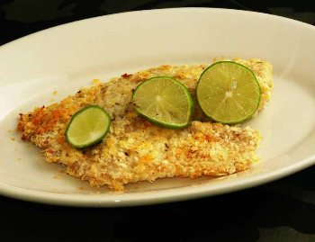 Low fat potato crusted fish bigoven for Potato crusted fish