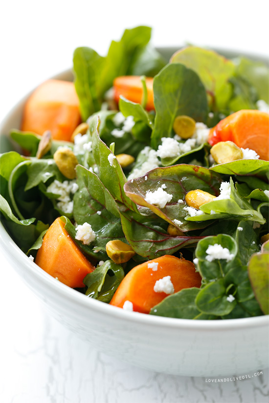 Recipes By Course Persimmon Salad with Blood Orange Vinaigrette