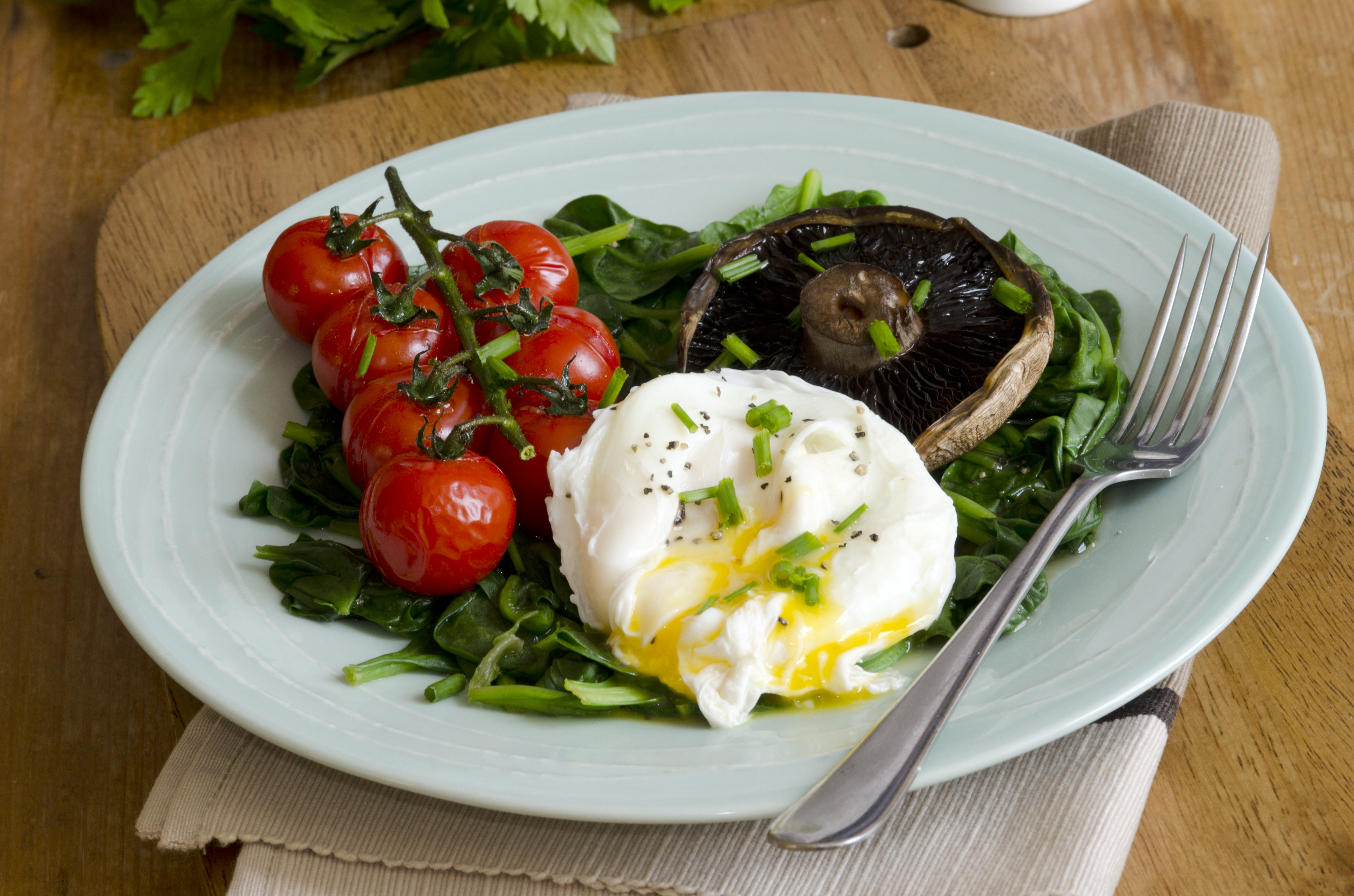 Poached Egg On Spinach, Warm Dressing