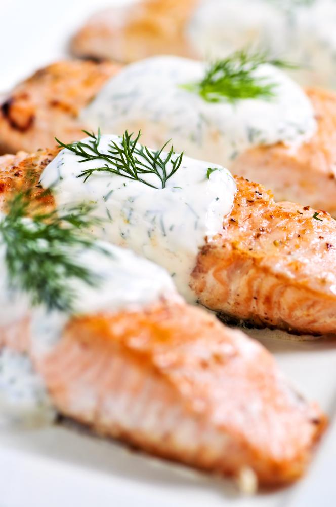 ... Dish Fish and Shellfish Salmon Salmon with Creamy Dill Sauce Recipe