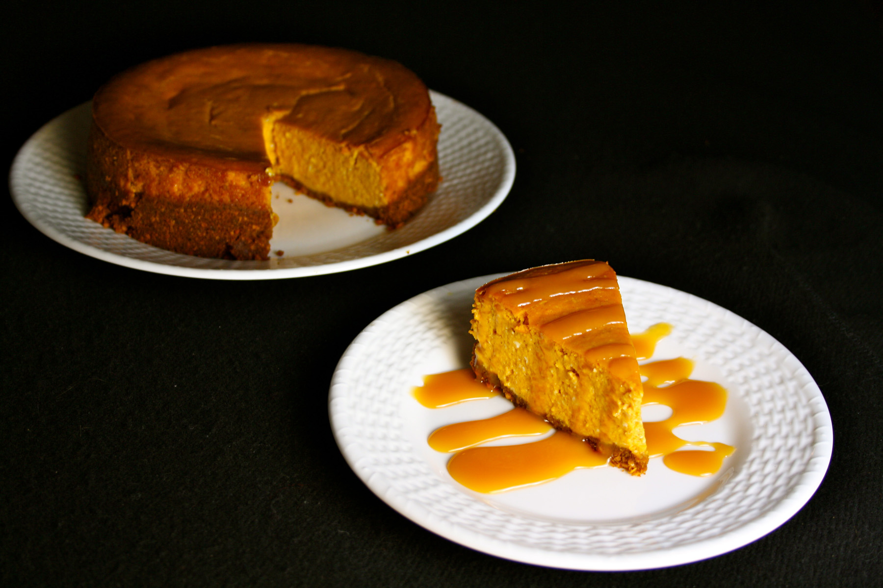 Spiced Pumpkin Cheesecake with Spicy Caramel Sauce - BigOven
