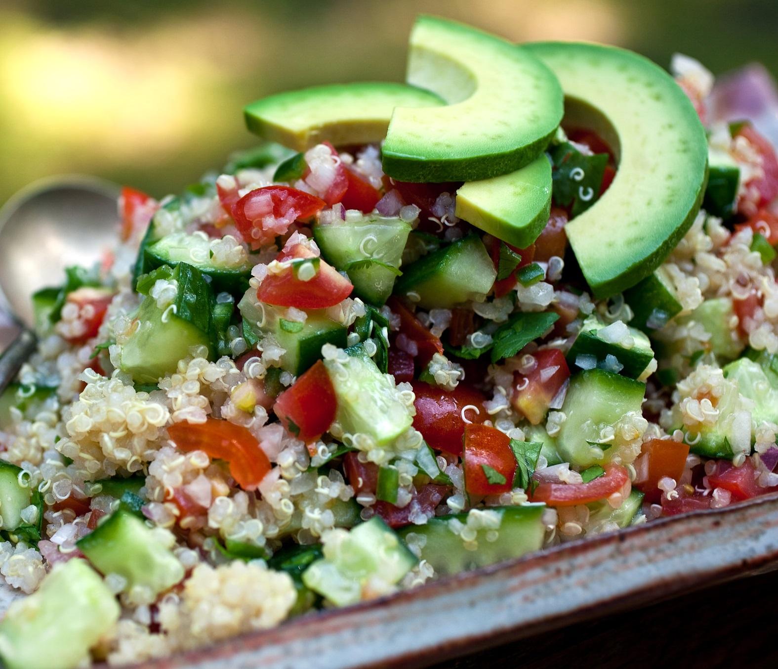 Spicy Quinoa, Cucumber & Tomato Salad
