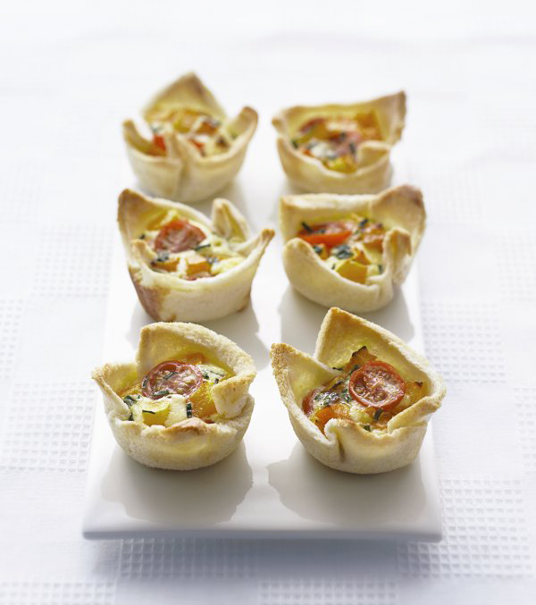 Squash & Cherry Tomato Quiche Cups