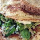 Leek and goat cheese omelette