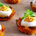 Low-Fat Deviled Eggs on Sweet Potato Nests