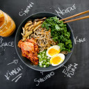 Noodle/rice with Korean Gochu jang @ roasted eggplant/tofu/ladies finger