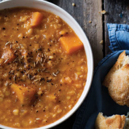 'Creamy' Red Lentil, Sweet Potato, and Tomato Soup
