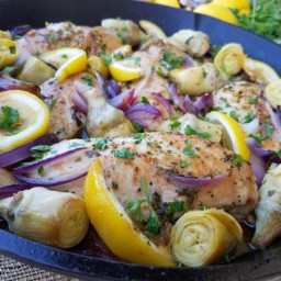 1-Pan Lemon Artichoke Chicken