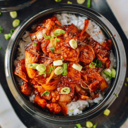10-Minute Korean Crispy Pork Belly Kimchi Bowls