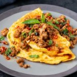 10-minute Spicy Pork & Noodle Omelette