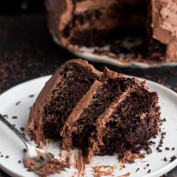 (2 LAYER CAKE) Simple Chocolate Birthday Cake with Whipped Chocolate Butter