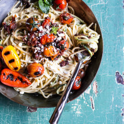 20-Minute Mediterranean Hummus Noodles with Blistered Cherry Tomatoes