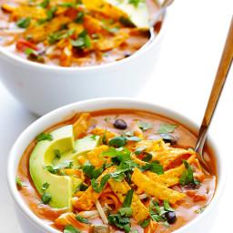 20 Min Easy Chicken Enchilada Soup