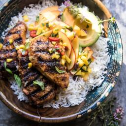 20 Minute Grilled Jerk Chicken with Mango-Nectarine Salsa