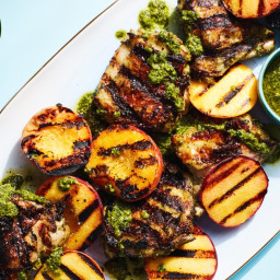 3-Ingredient Pesto-Grilled Chicken with Peaches