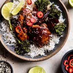 30 Minute Pineapple Teriyaki Chicken with Sesame Ginger Broccoli