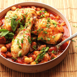 30-Minute Pressure Cooker Chicken With Chickpeas, Tomatoes, and Chorizo Rec