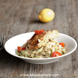 30 Minutes Pan-Fried Salmon in White Wine Sauce with Tagliatelle Pasta Reci