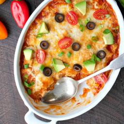 4-Ingredient Healthy Chicken Enchilada Casserole
