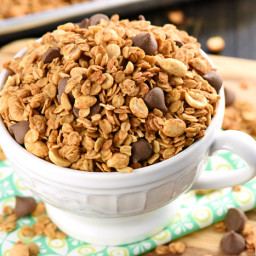 5-Ingredient Peanut Butter Granola {with or without Chocolate Chips!}