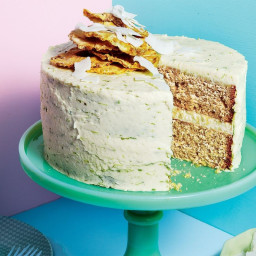 5-spice coconut cake with coconut and lime icing