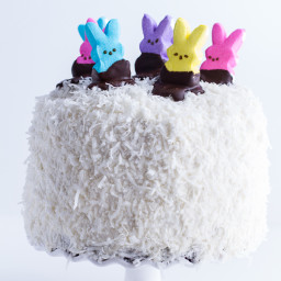 6-Layer Coconut Chocolate Covered Peeps Cake.