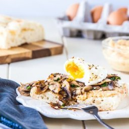 60 second microwave poached eggs with mushrooms, hummus and dukkah