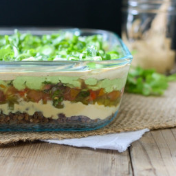7 Layer Taco Dip with Lentil Walnut Taco Meat