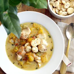 Acorn Squash and Cod Chowder with Homemade Oyster Crackers