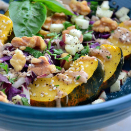 Acorn Squash Bowl with 'Creamy' Cider and Spice Dressing {Gluten-Free, Dair