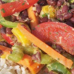 Adzuki Bean Mango Stir Fry with Cilantro Lime Coconut Sauce