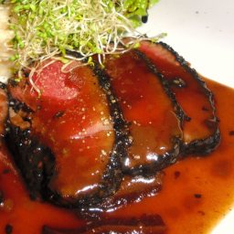 Ahi Tuna, Blackened with Soy Mustard Sauce and Beurre Blanc (Boom)