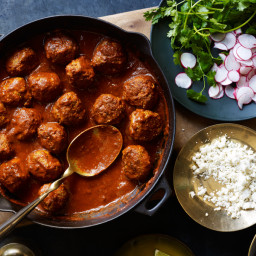 Albóndigas in Red Chile Sauce