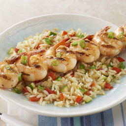 All-in-One Shrimp Skewers with Grilled Rice