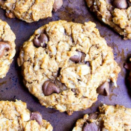 Almond Butter Oatmeal Chocolate Chip Cookies (Vegan, Gluten Free, Dairy Fre