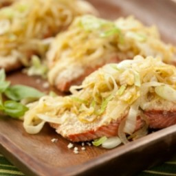 Almond Crusted Salmon with Caramelized Onions and Basil