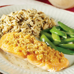 Almond-Crusted Salmon with Thyme & Lemon Butter Sauce