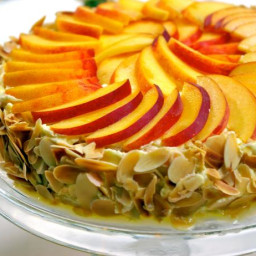 Almond Meringue Cake with Peaches