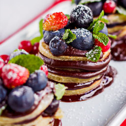 Almond Blueberry Pancakes with Chocolate