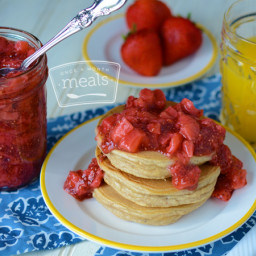 Almond Flour Pancakes with Strawberry Chia Seed Jam