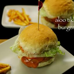 aloo tikki burger recipe | mcaloo tikki burger recipe | veg burger