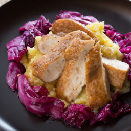 Alsatian Spiced Chickenwith Smashed Potatoes and Glazed Red Cabbage