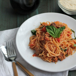Angel Hair Pasta with Sausage, and Tomato Cream Sauce